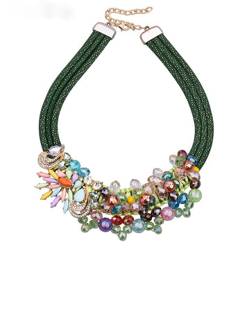 Colorful Rhinestone Necklace Handwork Weave Women Choker