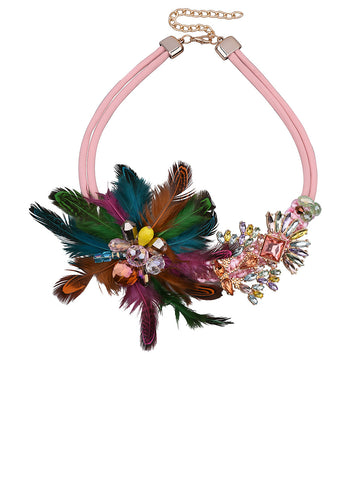 Design Feather Statement Necklace Luxury Crystal Women Casual Necklace