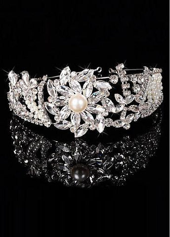 Fashion Sparkling Silver-plated Alloy Tiara With Rhinestones & Pearls