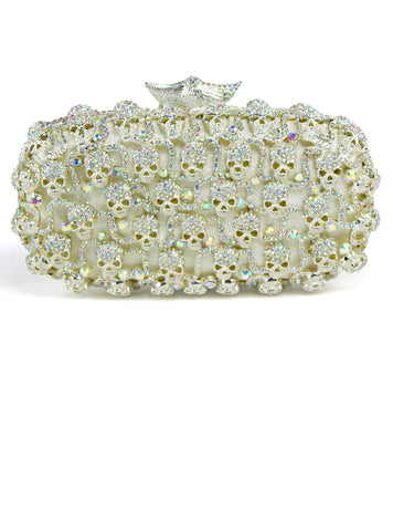 Diamond Dress hand Mini evening bag bag Rhinestone Skull clutch