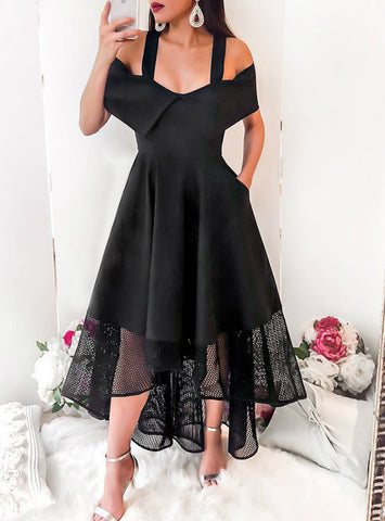 Black High Low Cold Shoulder Homecoming Dress With Pocket