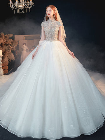 High Neck Beading Short Sleeves Ball Gown Tulle Wedding Dress