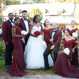 Sexy burgundy bridesmaid dress mermaid evening dresses