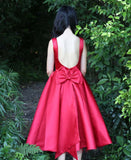 Red Tea Length Backless Bowknot Satin Homecoming Dresses
