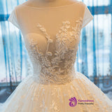 2017 Cap Sleeve Ball Gown Tulle Bridal Gowns Handmade Vintage Sheer Wedding Dresses