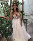 3D Floral Appliques Sheer Bodice Bridal Gowns Deep V neck Puffy Tulle Wedding Dress