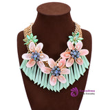 3 Color Handmade Weave Statement Necklace Shell Flower Pendants Necklace