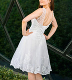 Dreamy knee length Evening Part dress custom made Prom Dresses lace up