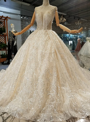 Champagne Ball Gown Sequins High Neck Sleeveless Long Train Wedding Dress