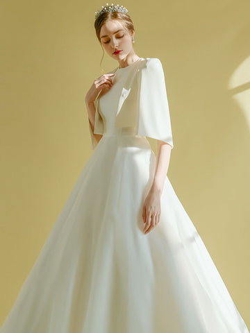 A Line Halter Satin Sweep Train Lace Up Back Wedding Dress With Jacket