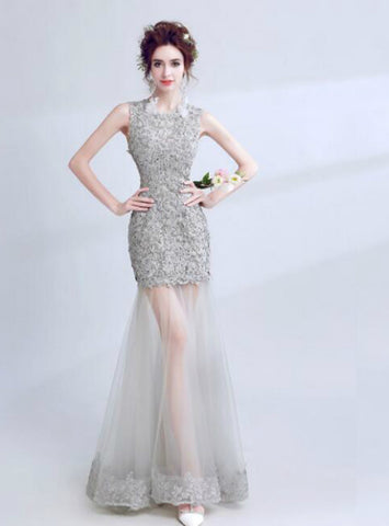 Mermaid Tulle Gray Lace Open Back Prom Dress