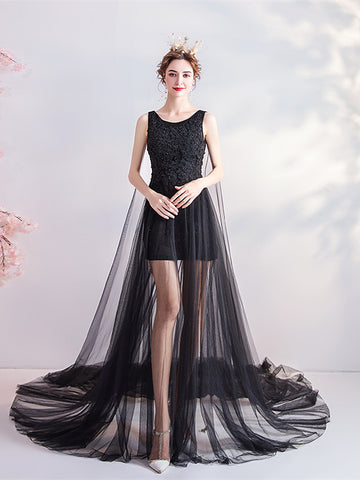 In Stock:Ship in 48 hours Black High Low Tulle Beading Prom Dress