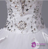 A line sweetheart beading applique wedding Dresses long train lace up bridal gowns
