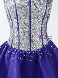 Purple Organza Sweetheart Crystal Short Homecoming Dress