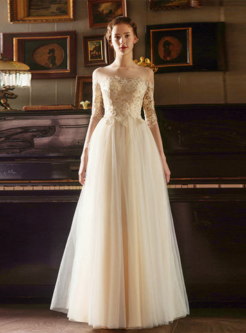A-Line Gold Appliques Embroidery Long Sleeve Floor Length Wedding Dress