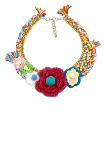 Handmade Chunky Bohemia Necklaces Colorful Flower Beach Choker