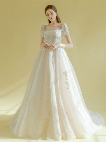Short Sleeves Tulle Square Neck A Line Lace Up Wedding Dress