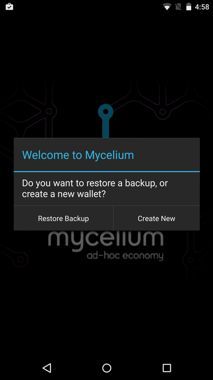 Screenshot Mycelium Mobile Wallet
