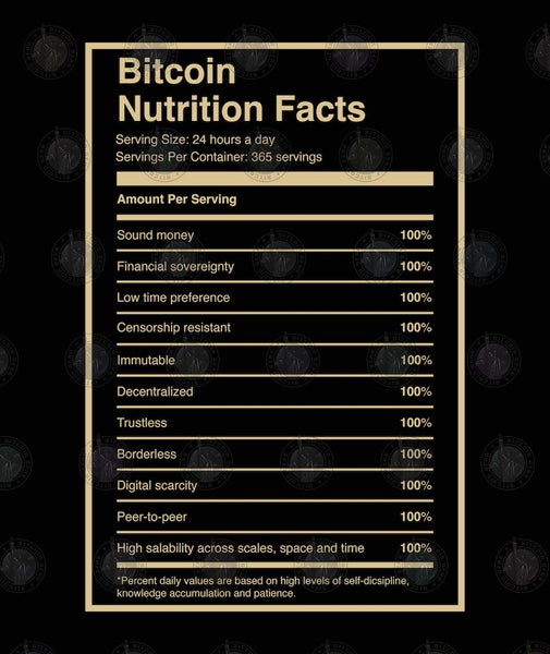 Bitcoin Nutrition Facts Black Background Sticker