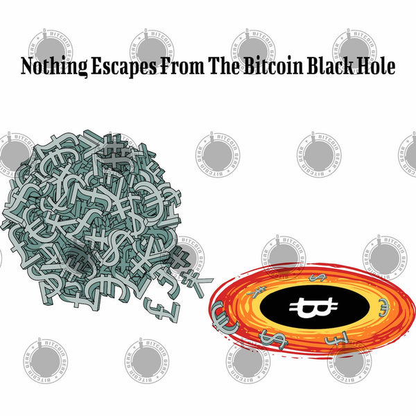 Bitcoin T shirt The Bitcoin Black Hole T-Shirt ⎜ White