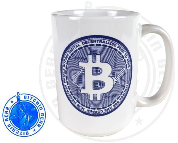 Bitcoin Coffee Mug One Size Premium Ceramic Mug Bitcoin Coin Blue