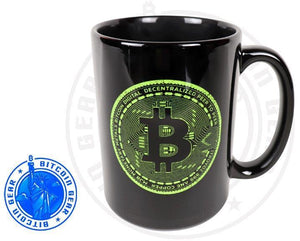 Bitcoin Coffee Mug One Size Premium Ceramic Mug Bitcoin Fluorescent Green