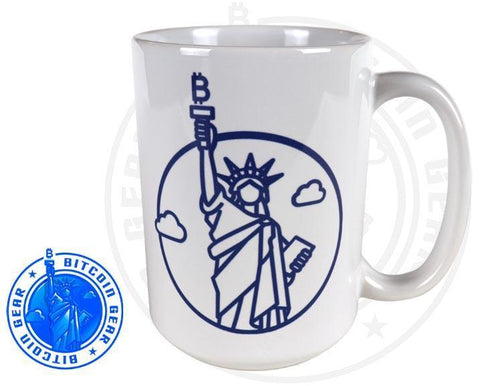 Bitcoin Coffee Mug One Size Premium Ceramic Mug Statute of Liberty
