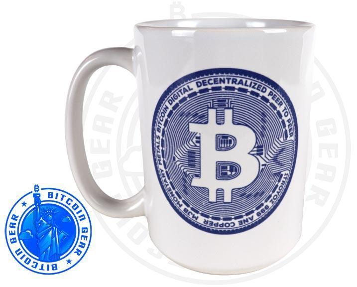 Bitcoin Coffee Mug Premium Ceramic Mug Bitcoin Coin Blue