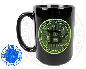 Bitcoin Coffee Mug Premium Ceramic Mug Bitcoin Fluorescent Green