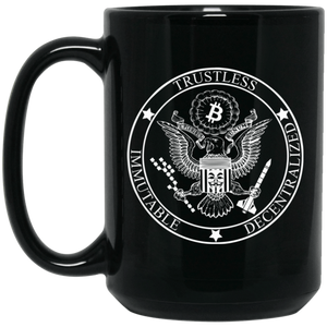 Bitcoin Mug One Size BTC Badge Black Mug