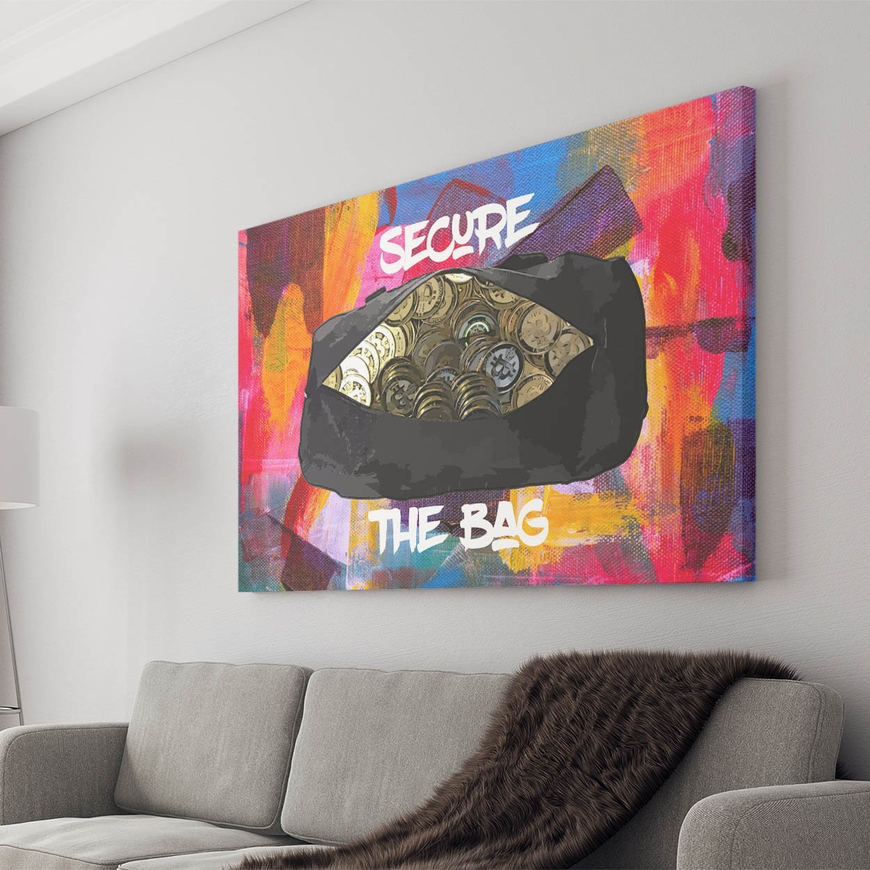 "Bitcoin Canvas 18"" x 12"" Secure The Bag Canvas"