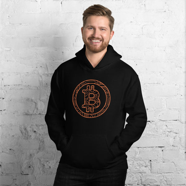 Distressed Stamped Silicon Chip Unisex Bitcoin Hoodie