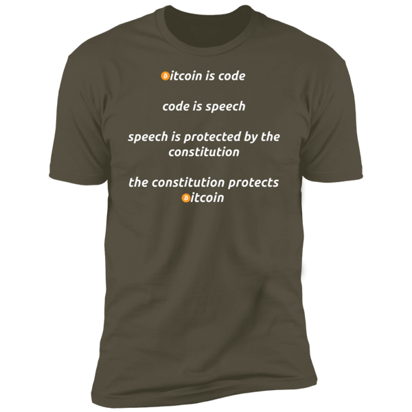 Bitcoin T shirt Military Green / X-Small Bitcoin Is Code T-Shirt