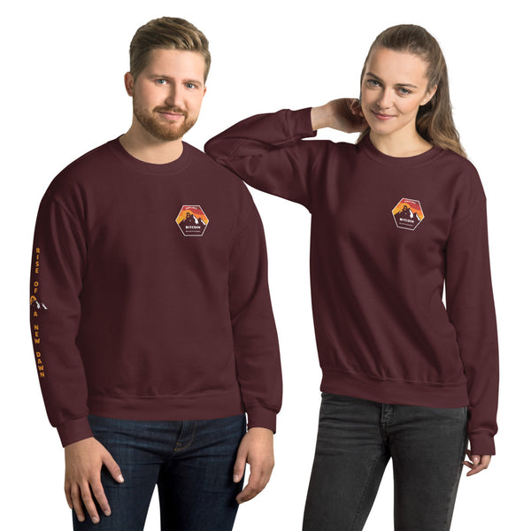 Rise Of A New Dawn Chest Badge Bitcoin Sweatshirt With Right Sleeve Vertical Print - Bitcoin Merchandise - Hodl BTC