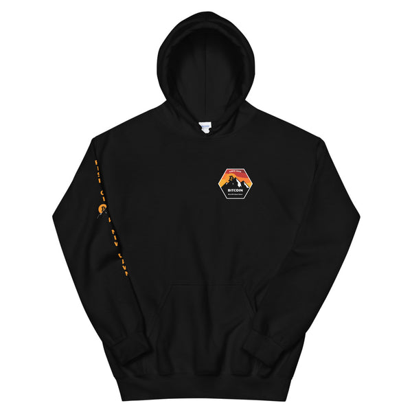 Rise Of A New Dawn Unisex Bitcoin Hoodie With Right Sleeve Vertical Print - Bitcoin Merch - Hodl BTC