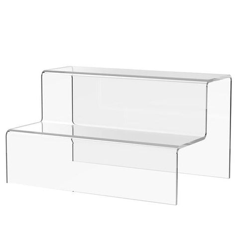 2 Step Clear Acrylic Riser Displays 100mm High x 120mm Deep, Various Height's