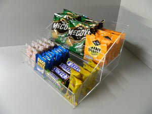Confectionery, Chocolate bar , Crisps, Condiment etc. 2 Step Counter Display