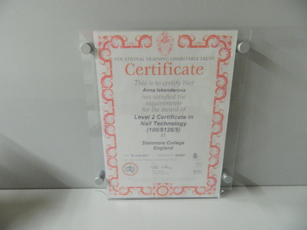 Poster Holder POS certificate holder with stand of wall fixings