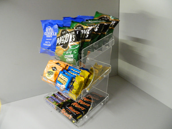 Confectionery, Chocolate bar , Crisps, Condiment etc. 3 Tier Counter Display