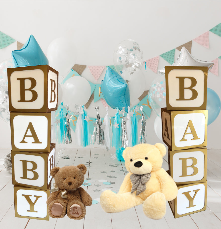 White and Gold Birthday Display Cubes Baby, Birthdays Names, Celebrations & Special Occasions
