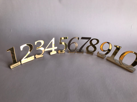 Catering Mirror table numbers pack of 10 and choice of gold or silver