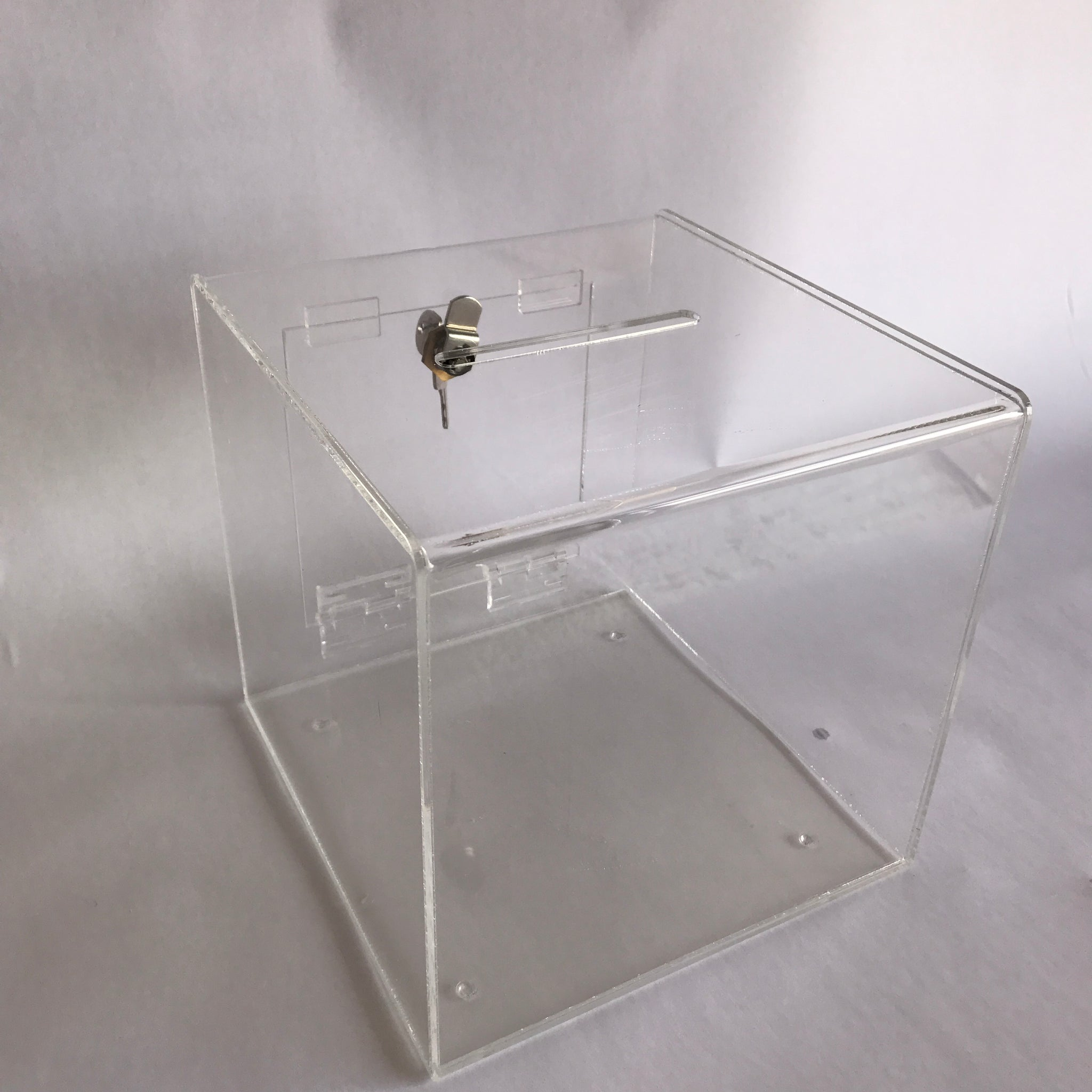 Ballot Box, Collection, suggestion Box clear acrylic with Lock & 2 Keys