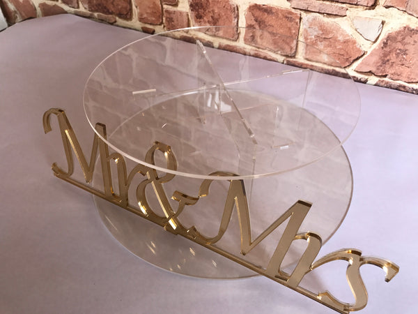 Cake stand single tier Gold finish Mr & Mrs Cake Stand