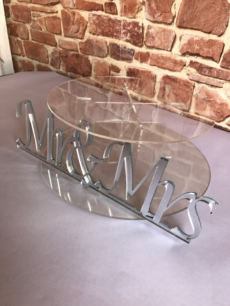 Cake stand single tier Silver finish Mr & Mrs Cake Stand