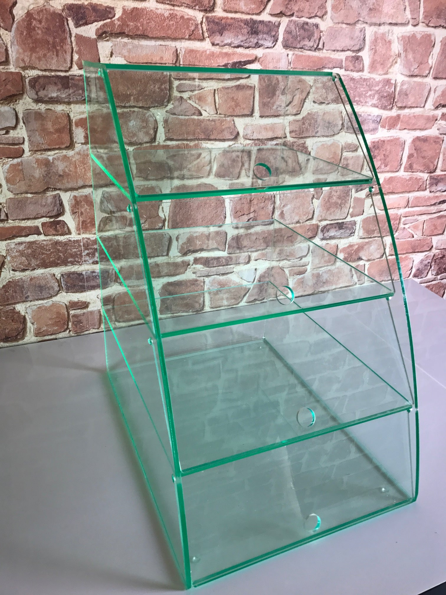 Display case Cabinet Curved Glass effect with 4 shelves with individual hinged doors glass.
