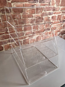 Display case cabinet curved clear acrylic with 4 shelves with individual hinged doors glass.