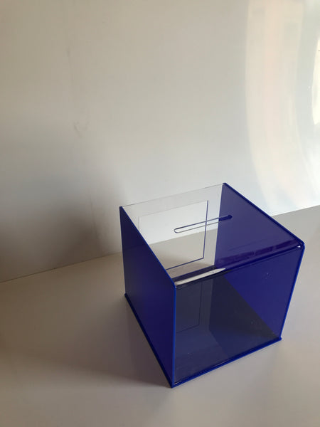 Ballot Box, Collection, suggestion box Blue & clear acrylic with Lock & 2 Keys