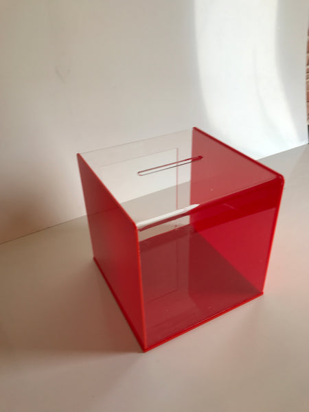 Ballot Box, Collection, suggestion box Red & clear acrylic with Lock & 2 Keys
