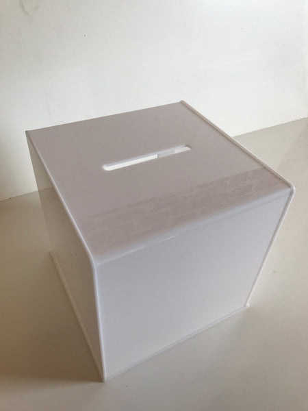 Ballot Box, Collection, suggestion box White acrylic with Lock & 2 Keys