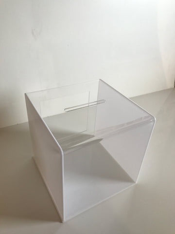 Ballot Box, Collection, suggestion box White & clear acrylic with Lock & 2 Keys